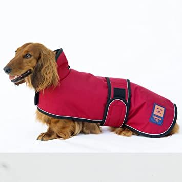 Dog Jacket Adjustable Lightweight Dachshund Raincoat with Reflective Straps and Harness Hole Best Gift for Dachshund L Yellow