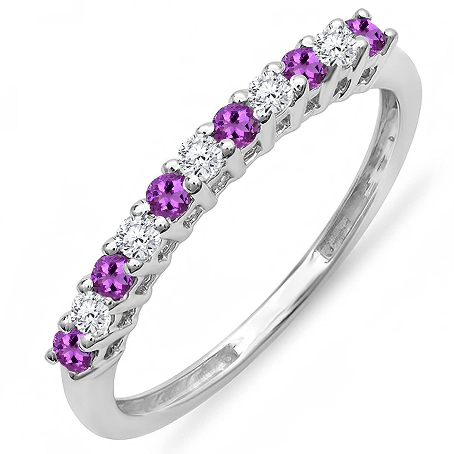 14K Gold Round Amethyst & White Diamond Anniversary Stackable Wedding Band