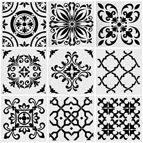 9pcs Stencils Set Tile Stencil, Uspacific 6x6 Inch PET Material Tile Paint Stencils for Laser Cut Painting, Walls, Fabric, Airbrush, Furniture, Floor (3)