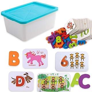 Yhjklm Giochi sociali per Bambini Alfabeto Parole Abbinamento e Spelling per Bambini apprendimento per la Scuola Materna Lingua dei Bambini Blue
