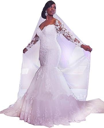 Amazon Com Xingmeng Elegant Long Sleeve Mermaid Wedding Dress 2019 Lace Tulle Plus Size Bridal Gown Clothing