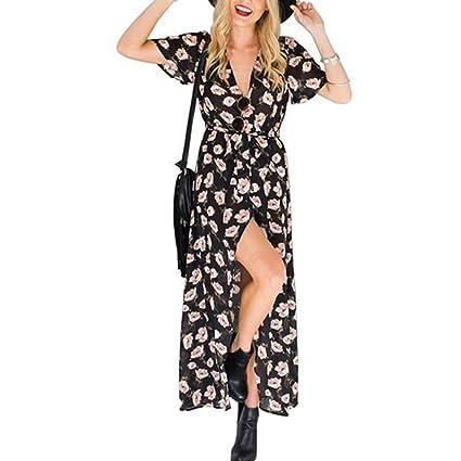 Butterme Mujeres Sexy Cuello En V Profundo Bohemia Impresión Floral Lado Raya Larga Maxi Vestidos para