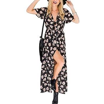 ZUMUii Butterme Femmes Tropical Flora V-Neck Maxi Robe Casual Manches  Courtes Summer Beach Dress 9be49d6c6bf