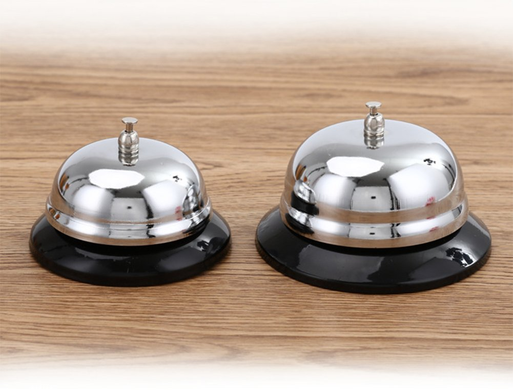 Toruiwa Bell Ring Calling Bell Stainless Steel Order Dishes Bell Service Bell Reception Bell with Non-Slip Base 1pcs Large