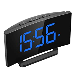 Mpow Digital Alarm Clock, 5'' Curved LED Screen, 6 Brightness, 3 Alarm Sounds, Easy Digital Clock for Kid Senior, Bedside Alarm Clock for Bedroom Kitchen Office, Snooze, 12/24H, Adjustable Volume