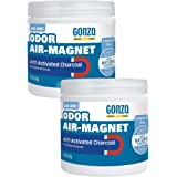 Gonzo Natural Magic Odor Air-Magnet with Activated Charcoal - 14 Ounce (2 Pack) - Odor Eliminator for Car Closet Bathroom and