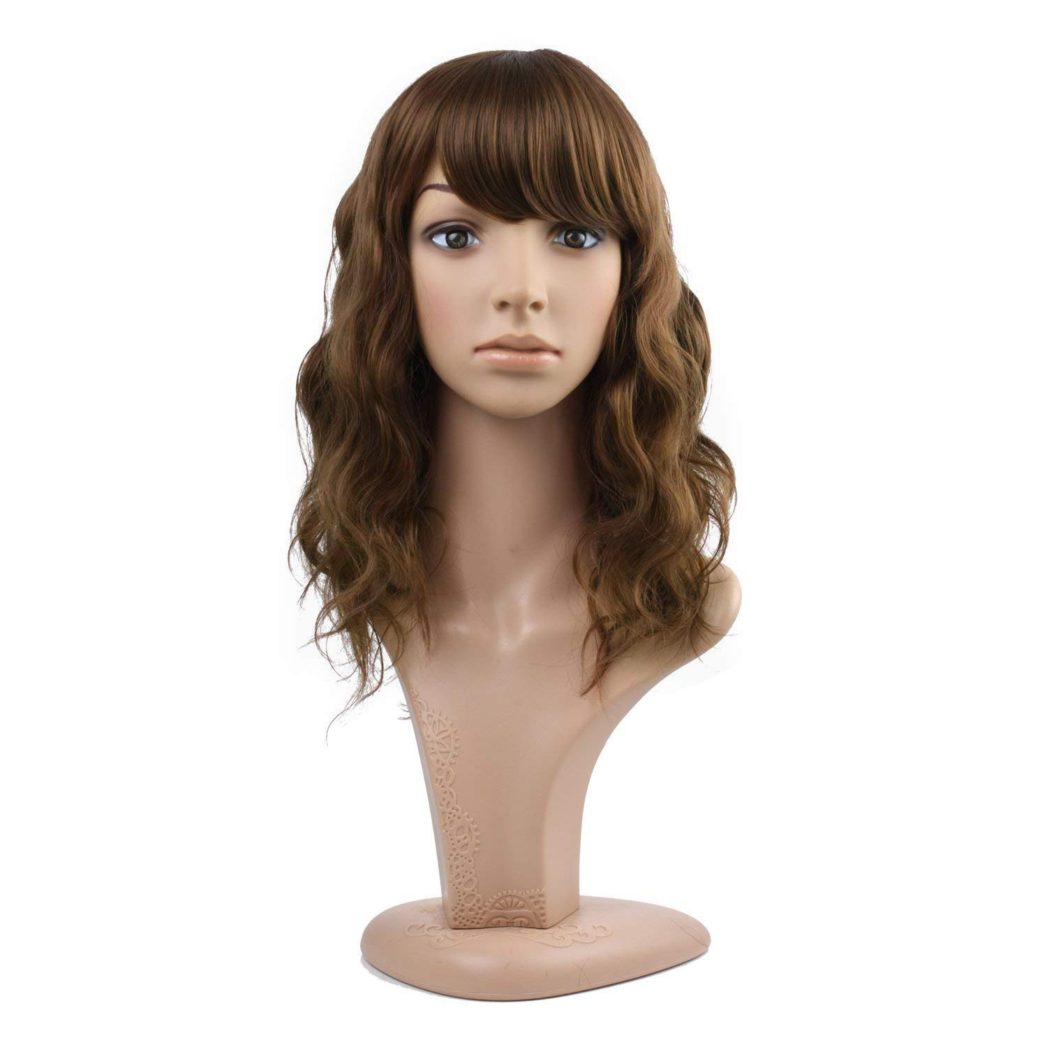 MelodySusie Mid Length Curly Wavy Wig for Women, 17 inches Hair Replacements Wig with Bang, Synthetic Fiber, Natural as Human Hair, for Daily Halloween Cosplay Costume, Wig Cap Included, Light Brown by MelodySusie