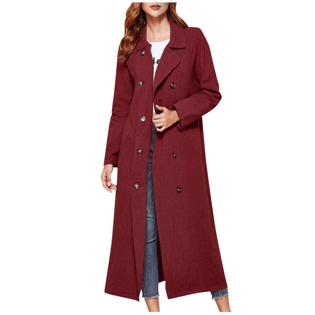 Dainzuy Women's Trench Coats Double Breasted Long Coat Long Sleeve Lapel Open Front Jacket Overcoat Outwear Red by Dainzuy Women Winter Clothes