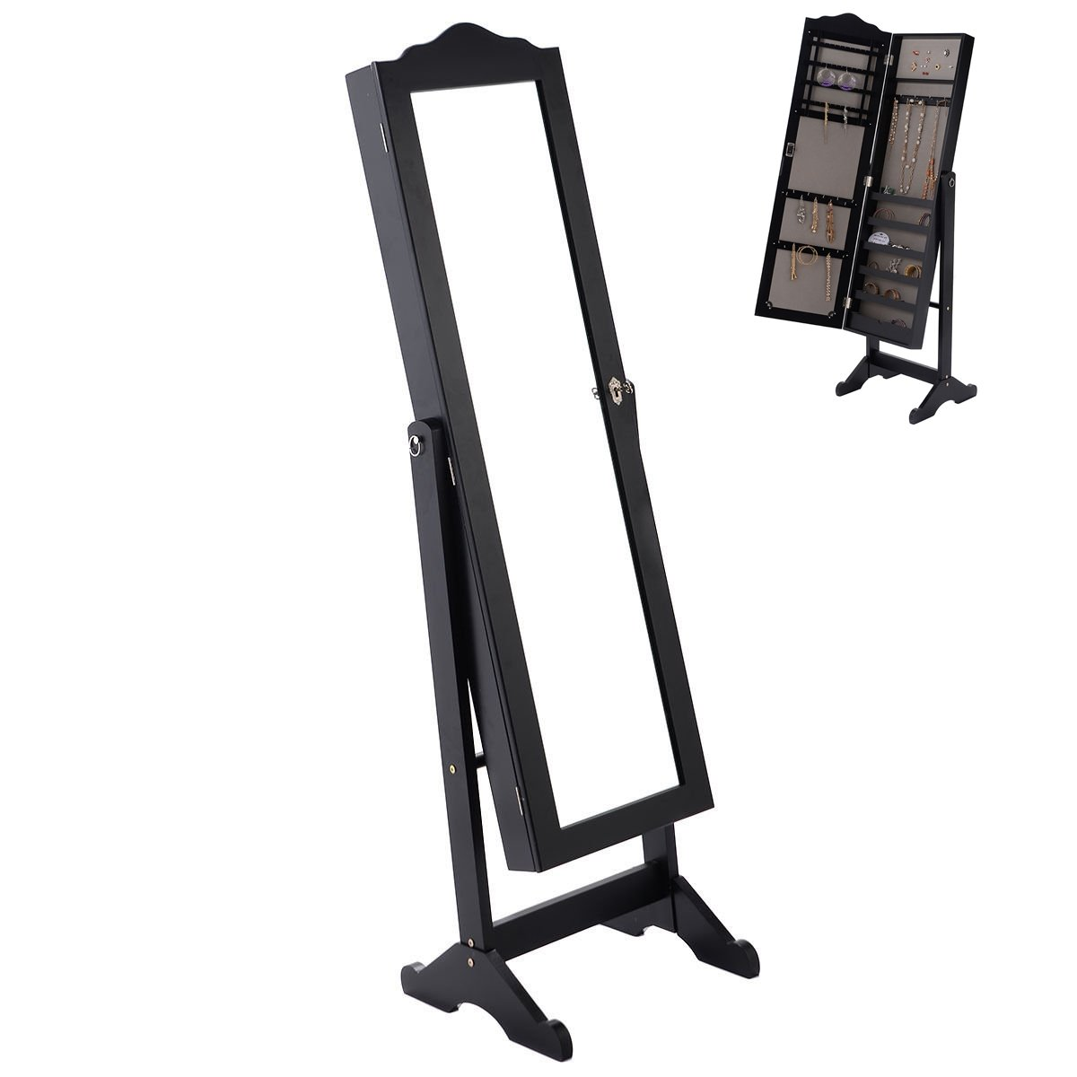 Lockable Large Mirror Jewelry Cabinet Accessory Organizer Storage Armoire Stand