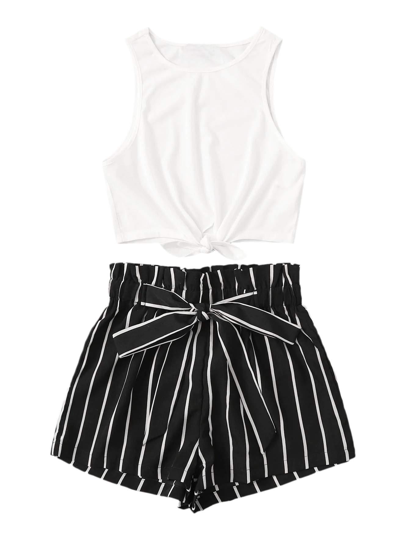 SweatyRocks Women's 2 Piece Casual Striped Print Crop Tank Top with Shorts Set White M by SweatyRocks