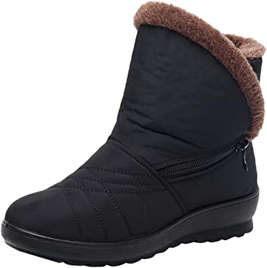 FAPIZI Womens Snow Boots Winter Round Toe Low Heel Waterproof Slip On Ankle Boots Fur Lined Outdoor Warm Boots Shoes