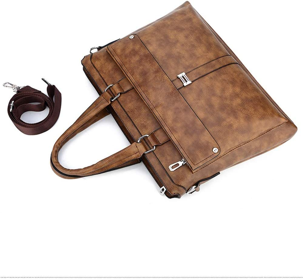 MKJYDM Fashion Business Briefcase Computer Tote Mens Shoulder Messenger Bag Leather Bag 39x5x28cm Briefcase Color : Brass