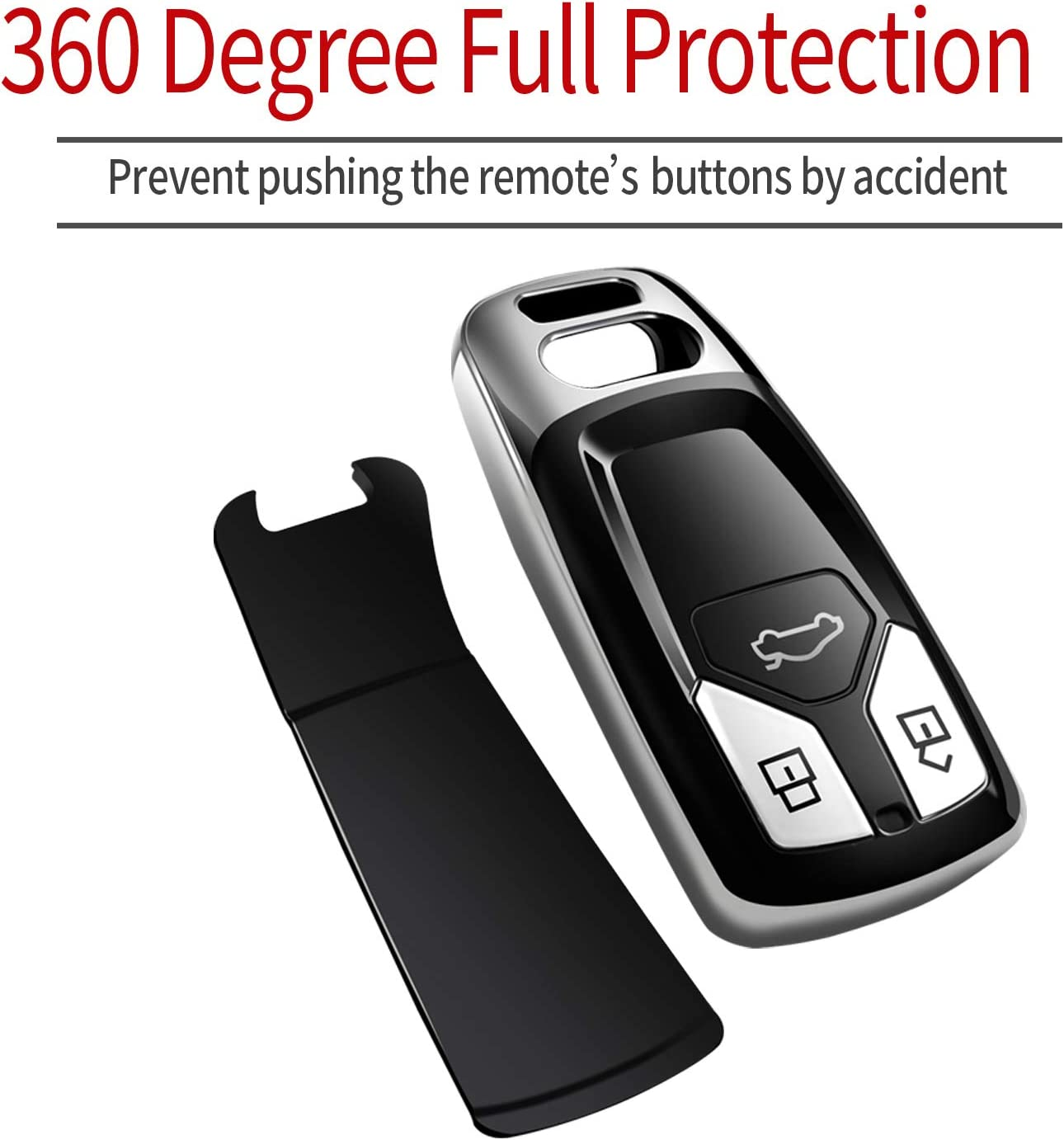 Silver Special Soft TPU Key Case Cover Protector Compatible with Audi A4 Q7 Q5 TT A3 A6 SQ5 R8 S5 Smart Key Tukellen for Audi Key Fob Cover