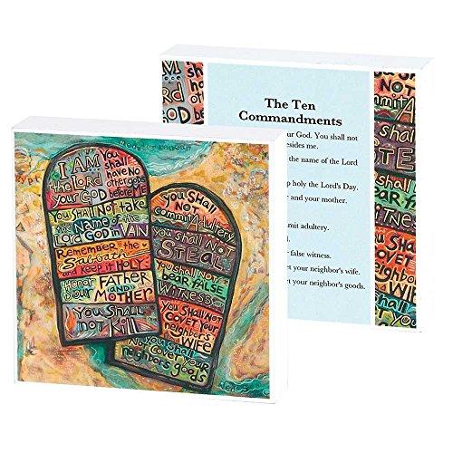 Dicksons The Ten Commandments Tablet Watercolor Design 4 x 4 Wood Wall Sign Plaque ()