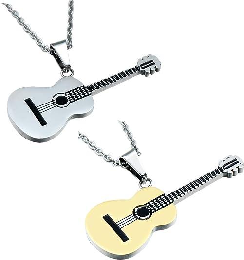 Shuny 2Pcs Collar de Guitarra,Colgante de Collar,Cadena de Acero ...