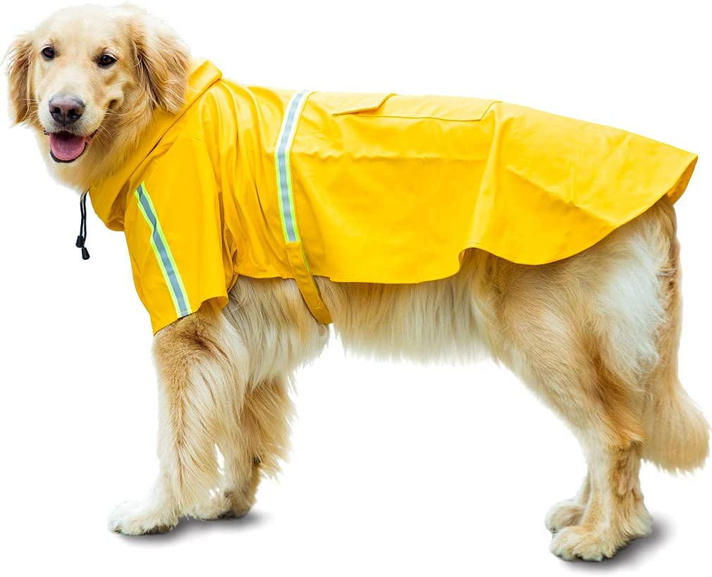 HAPEE Dog Raincoats for Large Dogs with Reflective Strip Hoodie,Rain Poncho Jacket for Small Medium Dogs