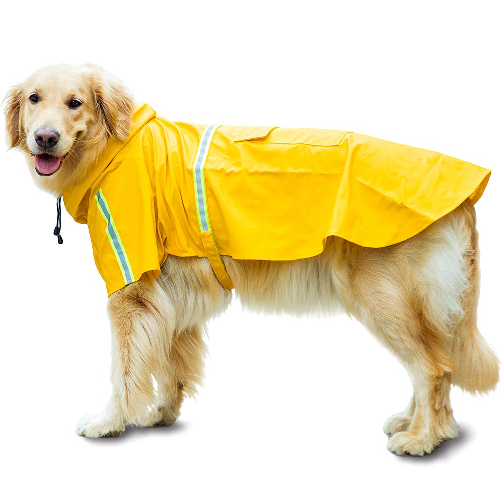 HIPIPET Dog Raincoat Adjustable Waterproof Rain Jacket Poncho Hoodies with Reflective Strip for Large and Medium Dogs(Yellow,2XL) by HIPIPET