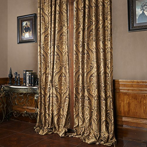 """IYUEGO Classic Floral Pattern Jacqaurd Cotton Blend Fabric Grommet Top Curtain Drapes With Multi Size Custom 42"""" W x 84"""" L (One Panel)"""