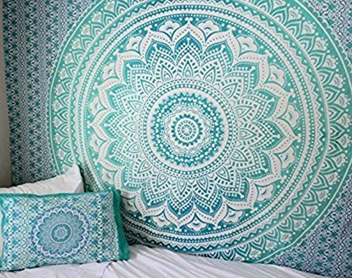 Large Turquoise Green Ombre Tapestry Queen Teal Aqua Hippie Wall Tapestries teal mint Tapestry Wall Hanging Hippie Mandala Tapestry Bohemian Bedspread Dorm Decor hippie tapestries by RSG Venture ()