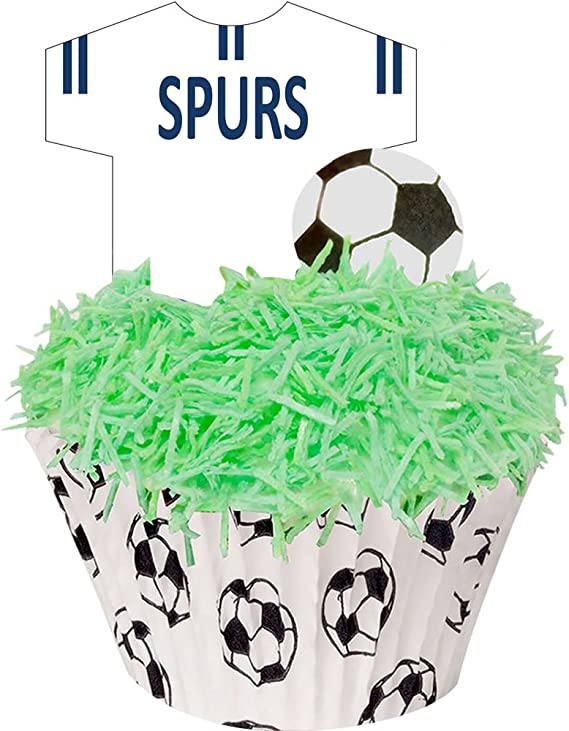 A kit of Football Cupcake Cases and Edible Decorations - Great for Spurs  Fans - Perfectly pre-Cut T-Shirts and Footballs - just pop Them Out - 10