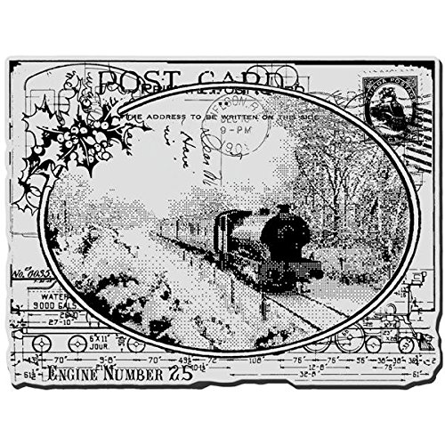 (STAMPENDOUS, Cling Rubber Stamp, Train Postcard )