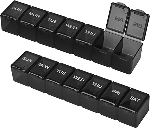 Kononia Weekly Pill Organizer,Set of 2, Small Pill case, Mini Pill Box, Portable Pill Box for Travel,Mini Pill Container for Pills/Fish Oil/Vitamin/Supplements(Black)
