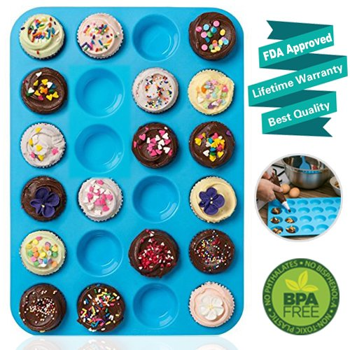 Amison Mini Muffin Pan 24 Cups, Silicone Cookies Cupcake Bakeware Tin Soap Tray Mould Non Stick, BPA-Free, Dishwasher Safe, Blue