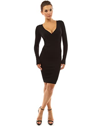 a7ce231788ff PattyBoutik Women s V Neck Long Sleeve Knit Dress at Amazon Women s  Clothing store
