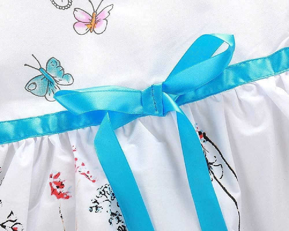 Bestow Vestido de niña Princesa Mariposa Blanca Floral: Amazon.es ...