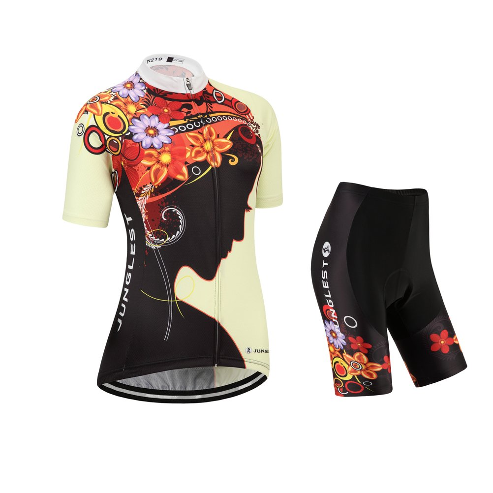 Women's Cycling Jersey and Shorts Set, Short Sleeve with 3D Pad JUNGLEST