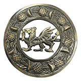 AAR Scottish Kilt Fly Plaid Brooch Welsh Dragon Antique/ Chrome Finish 3'' (7cm) (Antique) T