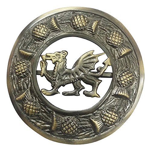 (AAR Scottish Kilt Fly Plaid Brooch Welsh Dragon Antique/ Chrome Finish 3