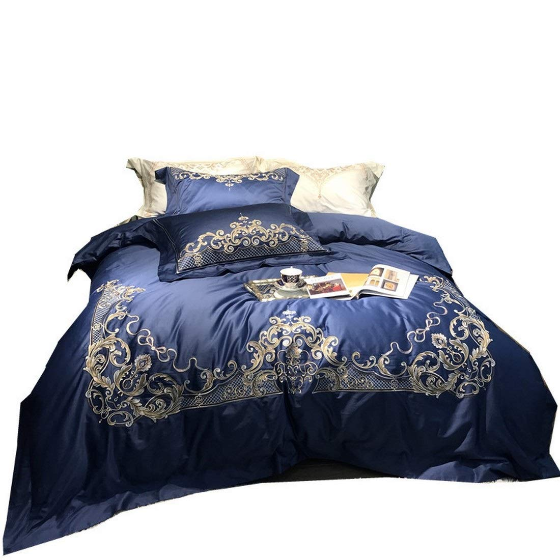 Kainuoo 契約ロングステープルコットン刺繍ブルーコットン寝具4セット (Color : Carola-dark blue, Size : QUEEN) B07N838X4C Carola-dark blue Queen