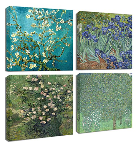 - Floral Canvas Print 4Pcs/Sets Modern Wall Art Bedroom Home Decor Giclee Framed Artwork Almond Blossom and Irises Flowers by Vincent Van Gogh Reproduction Pictures Photo Paintings Print on Canvas Gift