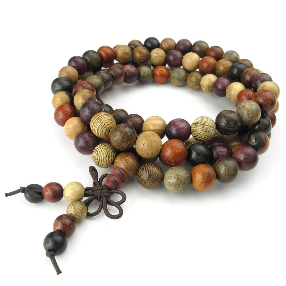 Konov Jewelry Wood Mens Womens Bracelet, 8mm Tibetan Sandalwood Beads Buddhist Prayer Mala, Yoga Necklace, Brown Red, with Gift Bag, C24669 10024669C
