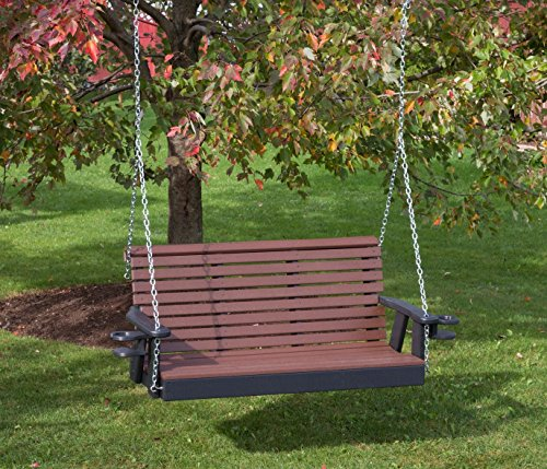 - 5FT-CEDAR-POLY LUMBER ROLL BACK Porch Swing with Cupholder arms Heavy Duty EVERLASTING PolyTuf HDPE - MADE IN USA - AMISH CRAFTED
