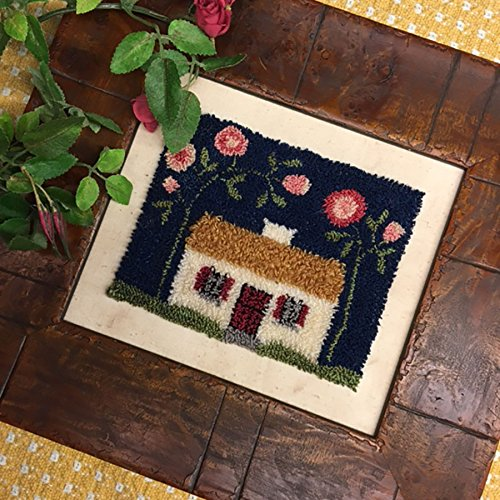 Rose Cottage Embroidery - Punch Needle Embroidery WILD ROSE IRISH COTTAGE