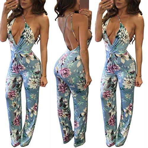 Wear Caftan (TAORE Women Sexy Sleeveless Floral Print Strap Bandage Backless Casual Clubwear Jumpsuit Romper (L, Blue))
