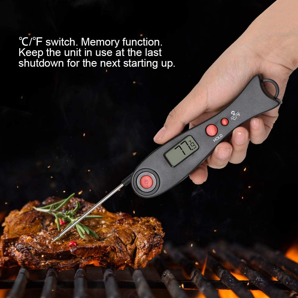 nero Termometro per Grill Griglia a Carbone per Barbecue Lettura Immediata Termometro per Carne con Coperchio della Batteria
