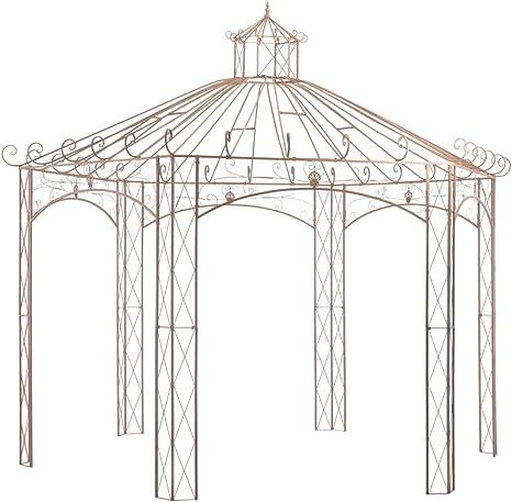 vidaXL Pérgola Carpa Cenador de Jardín Porche Patio Terraza de Aspecto Antiguo Estructuras Hierro Decoración Exterior Ambientes para Casa 4 m Marrón: Amazon.es: Hogar