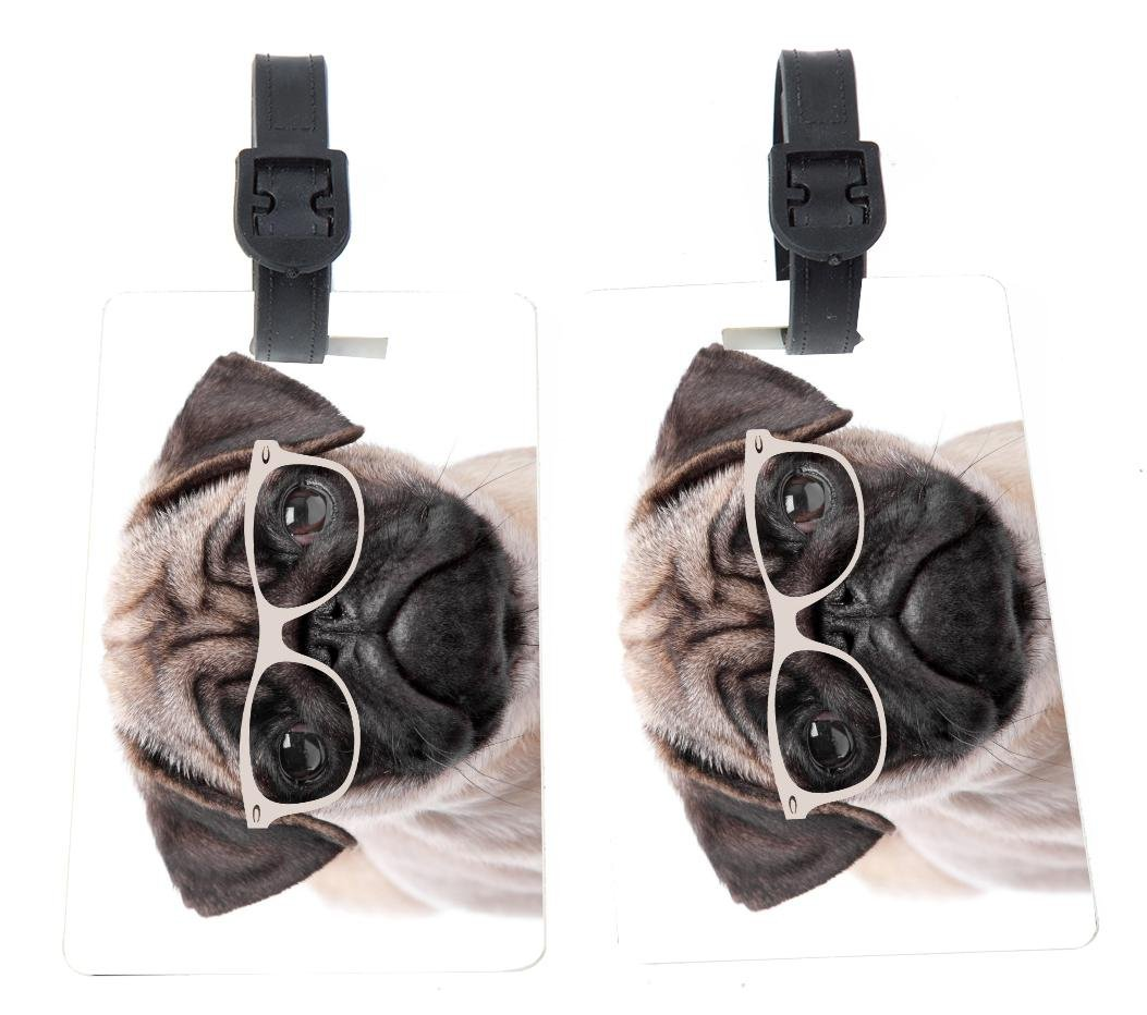 Rikki Knight Hipster Pug Dog Puppy with Glasses Design Premium Quality Plastic Flexi Luggage Tags with Strap Closure - Great for Travel (set of 2)