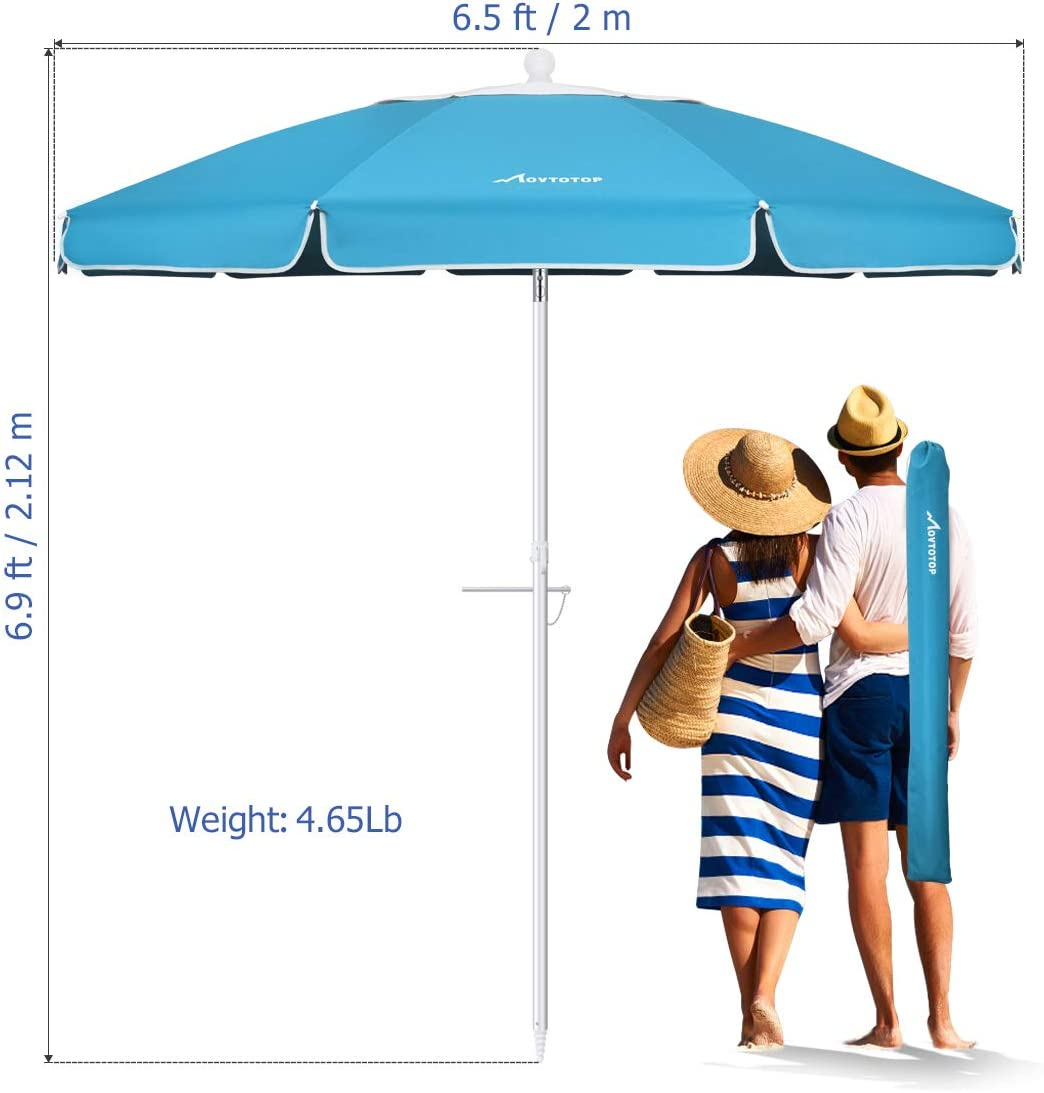 Outdoor Umbrella, 6.5ft Beach Umbrella UV 50+, with Sand Anchor & Tilt Aluminum Pole