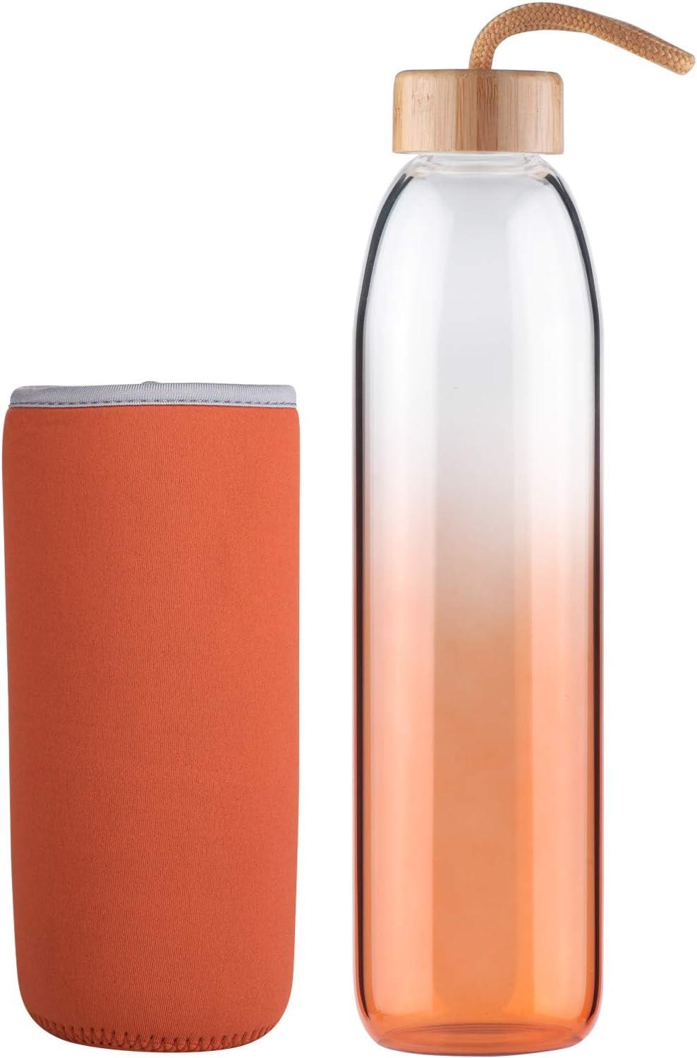 Life4u Botella de Agua de Cristal de Borosilicato de con Funda de Neopreno Sin BPA 500 ml / 1000 ml