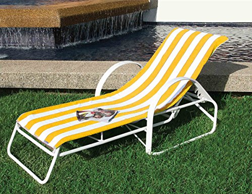 Chaise Lounge Towel Striped Yellow/white. Special Offer Towels 2 X