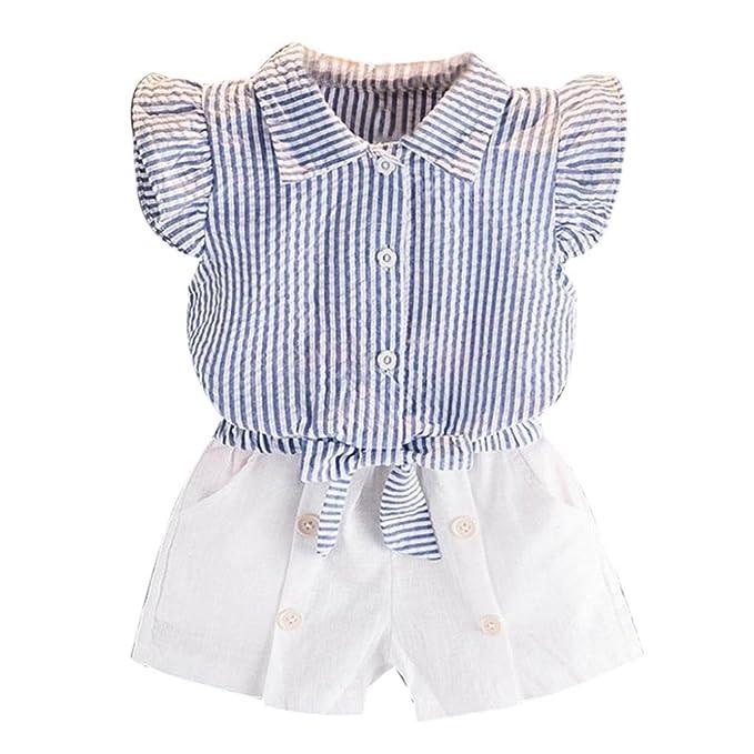 Vestido niñas, Switchali Niños Bebé Niña Verano moda blusas bowknot chaleco rayas camisa + Pantalones