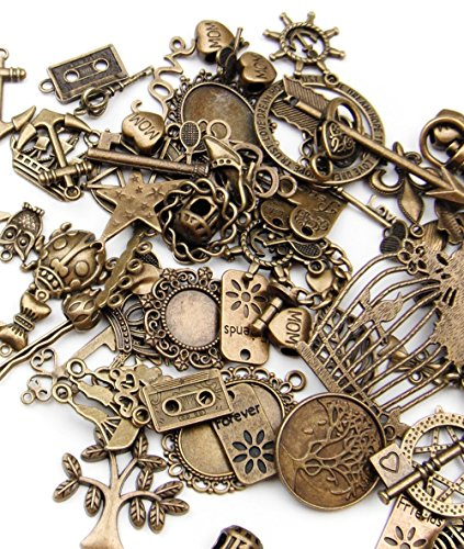 (ALL in ONE Mixed Antique Bronze Alloy Pendants Beads Charms Chains Connectors Jewelry Findings (Mixed Color 500 gram))