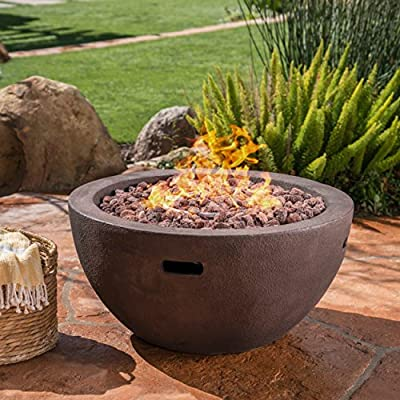 Teresa Outdoor 34 Inch Brown Finish Light Weight Concrete Bowl Fire Pit - 40,000 BTU -  - patio, fire-pits-outdoor-fireplaces, outdoor-decor - 61Q0hy9TE8L. SS400  -