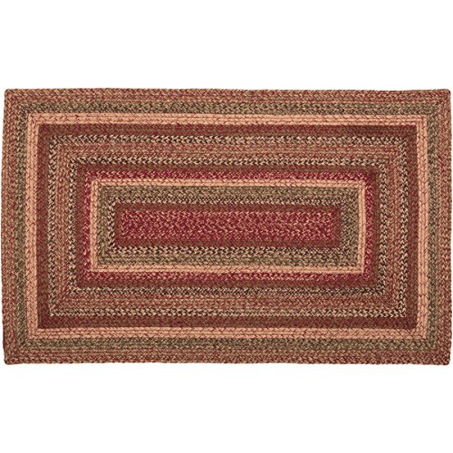 VHC Brands 45600 Burgundy Red Primitive Country Flooring Cider Mill Jute Rug, 36x60 ()