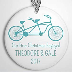 DONL9BAUER Tandem Bike Holiday 2020 Christmas Ornaments Our First Christmas Engaged Hanging Ornament Xmas Tree Decorations Present for Family Friends A Year to Remember