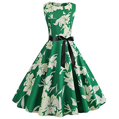 bba668affb384 Women's Vintage 1950s Retro Sleeveless O Neck Evening Party Prom Swing  Dresses by